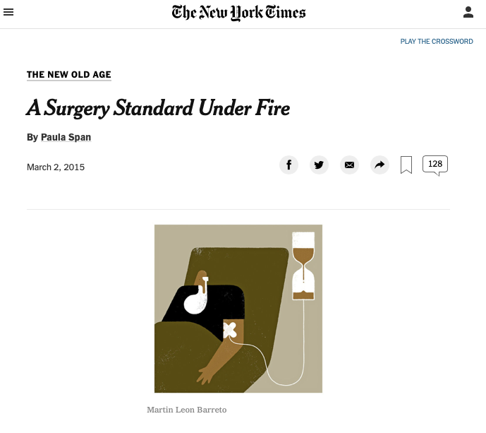 """Screenshot of the New York Times article titled """"A Surgery Standard Under Fire"""" which depicts a drawing of an elderly man attached to an IV bag."""