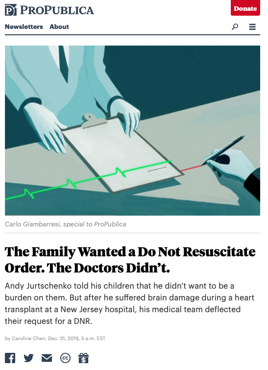 A screenshot of the ProPublica article which depicts a cartoon image of m an in a suit holding a clipboard